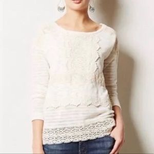 Anthro One September Heirloom Lace Ivory Sweater